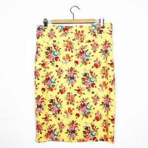 LuLaRoe Yellow Cassie Skirt with Neon Flowers XL